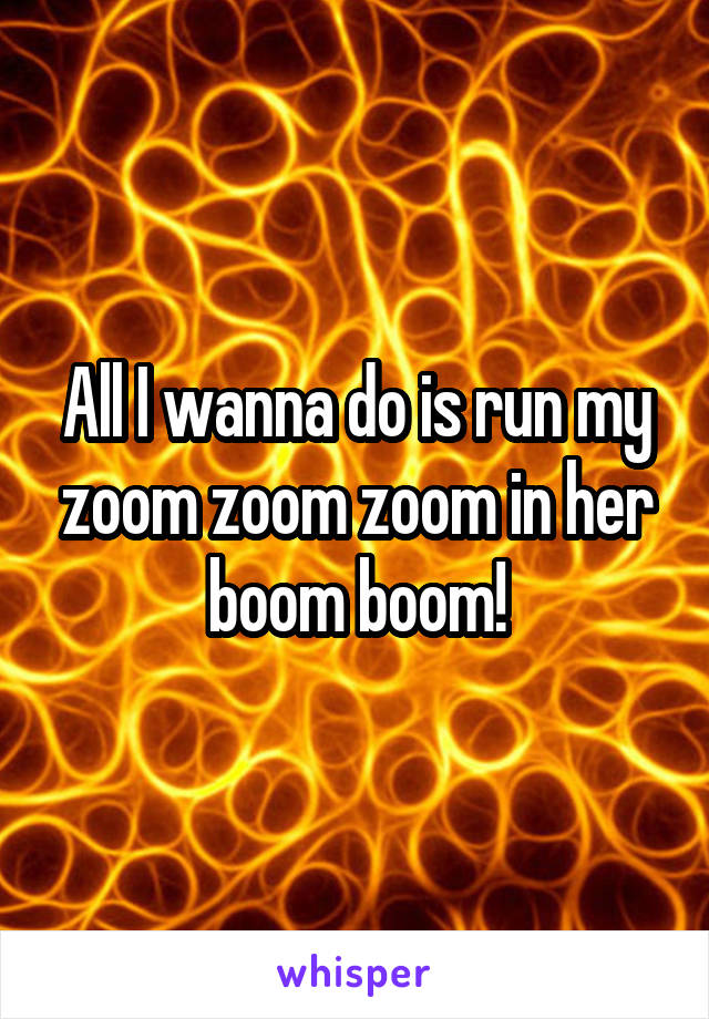 All I wanna do is run my zoom zoom zoom in her boom boom!