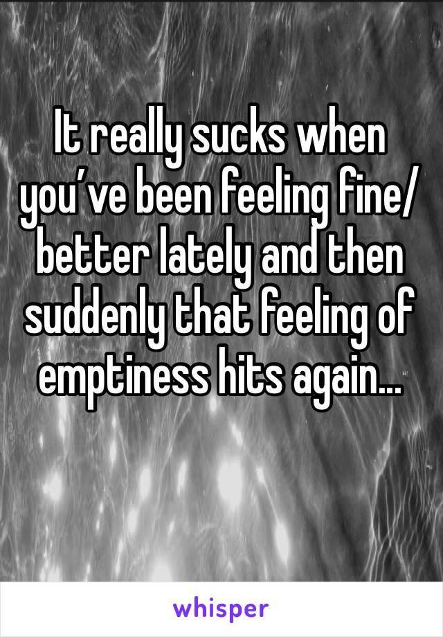 It really sucks when you've been feeling fine/better lately and then suddenly that feeling of emptiness hits again...