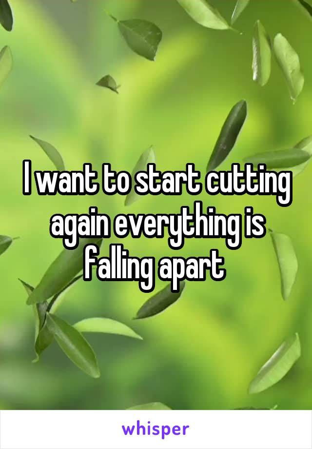 I want to start cutting again everything is falling apart