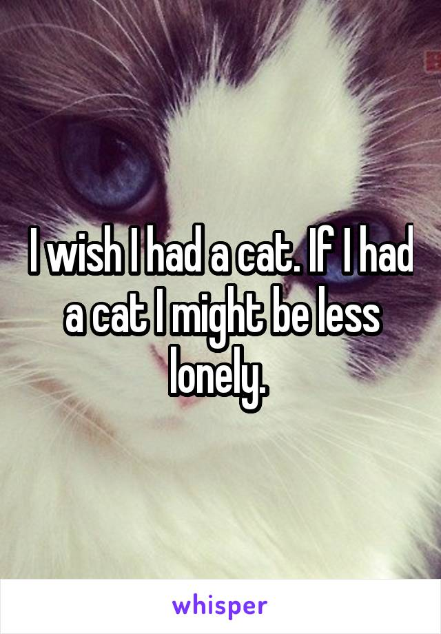 I wish I had a cat. If I had a cat I might be less lonely.