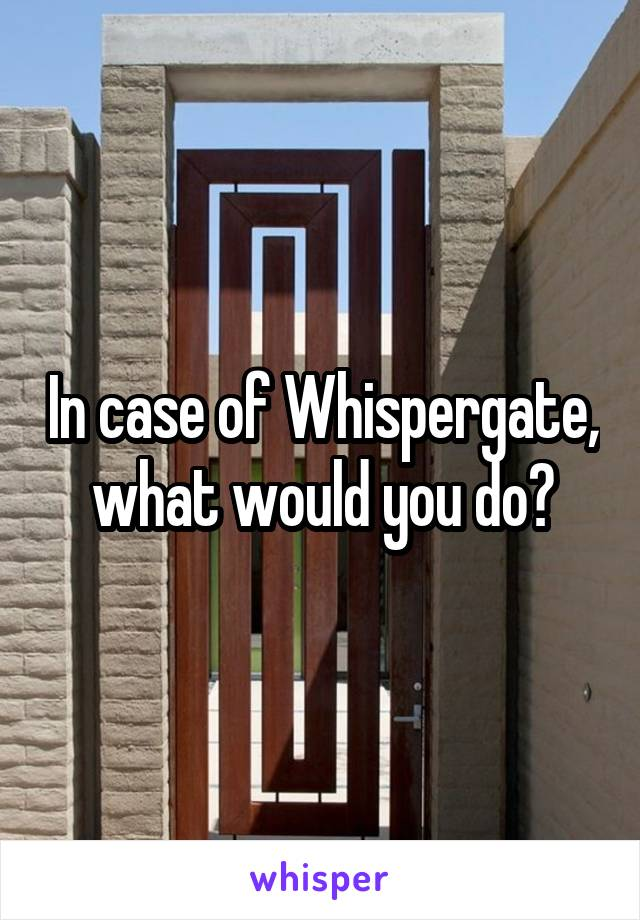 In case of Whispergate, what would you do?