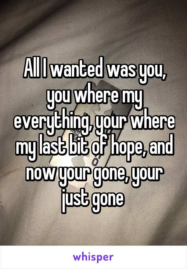 All I wanted was you, you where my everything, your where my last bit of hope, and now your gone, your just gone
