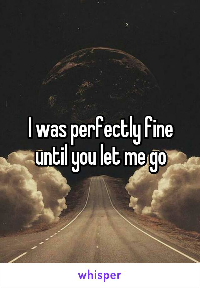 I was perfectly fine until you let me go