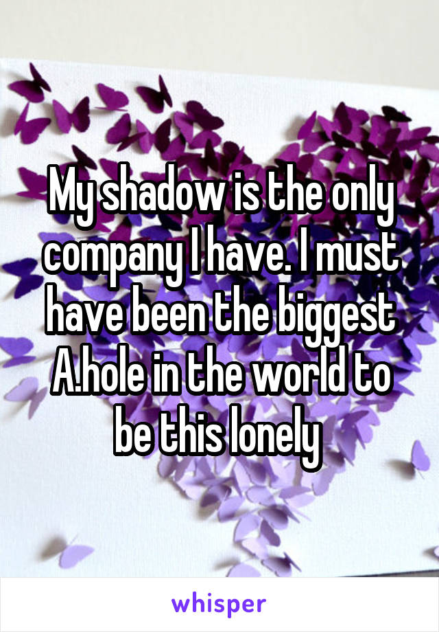 My shadow is the only company I have. I must have been the biggest A.hole in the world to be this lonely