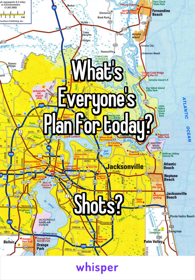 What's  Everyone's  Plan for today?   Shots?