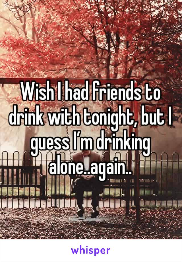 Wish I had friends to drink with tonight, but I guess I'm drinking alone..again..