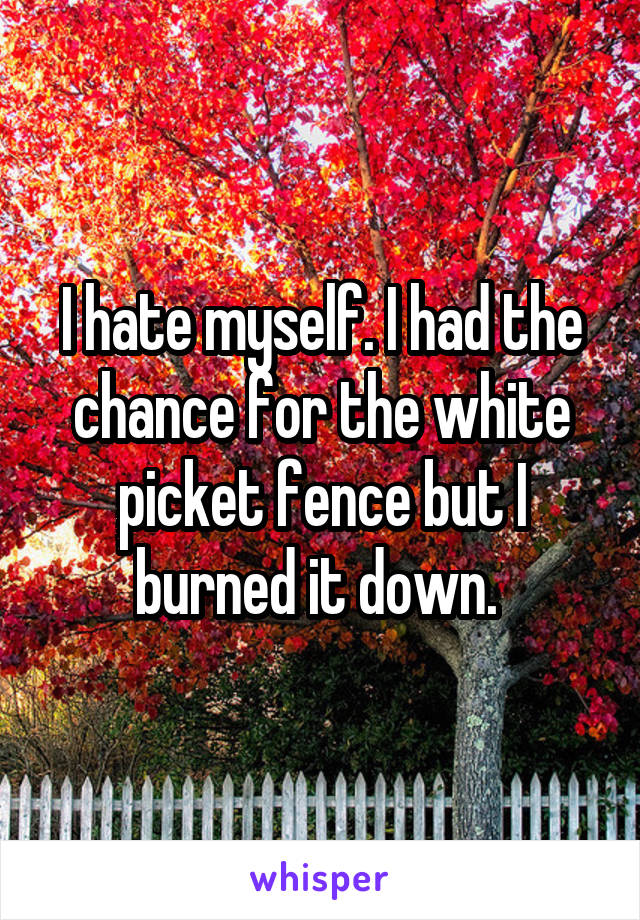 I hate myself. I had the chance for the white picket fence but I burned it down.