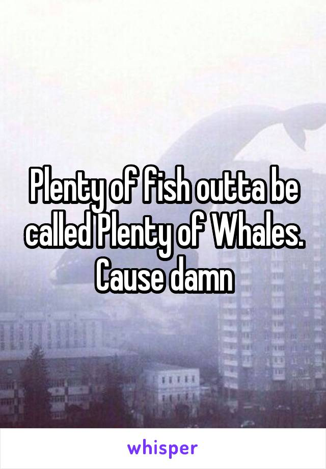 Plenty of fish outta be called Plenty of Whales. Cause damn