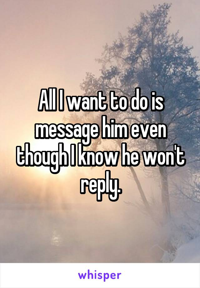 All I want to do is message him even though I know he won't reply.