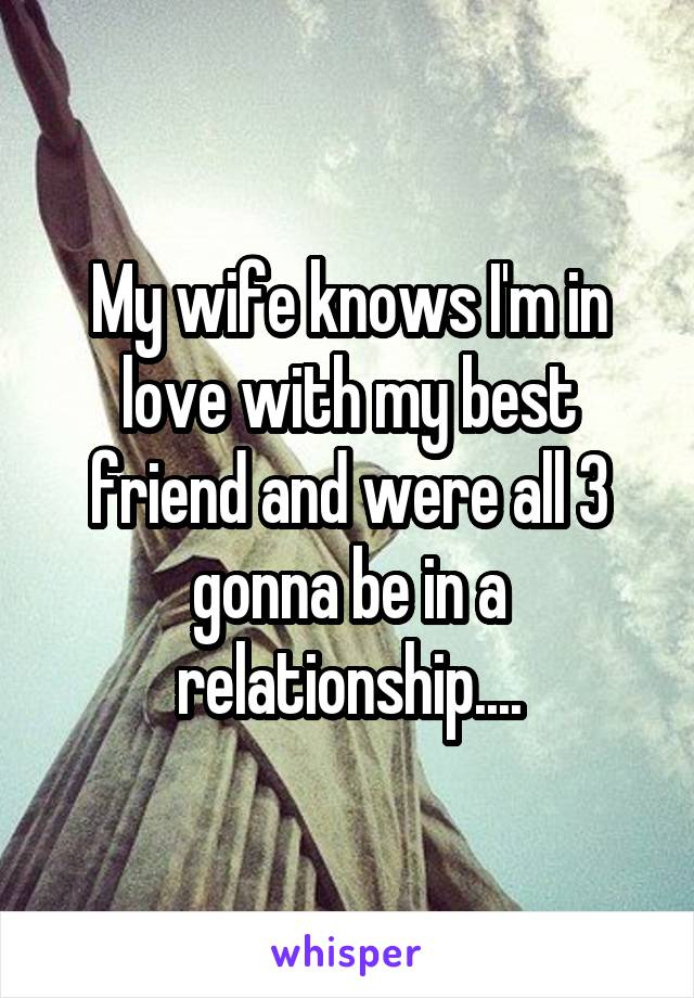 My wife knows I'm in love with my best friend and were all 3 gonna be in a relationship....