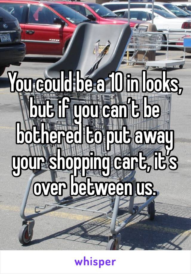 You could be a 10 in looks, but if you can't be bothered to put away your shopping cart, it's over between us.