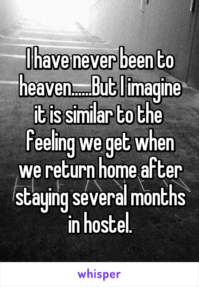 I have never been to heaven......But I imagine it is similar to the  feeling we get when we return home after staying several months in hostel.