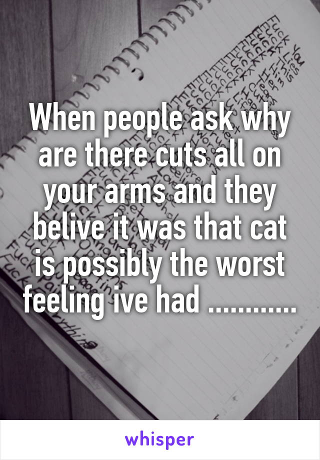 When people ask why are there cuts all on your arms and they belive it was that cat is possibly the worst feeling ive had ............