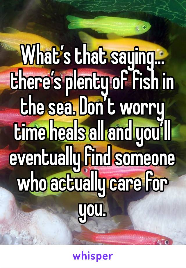 What's that saying... there's plenty of fish in the sea. Don't worry time heals all and you'll eventually find someone who actually care for you.
