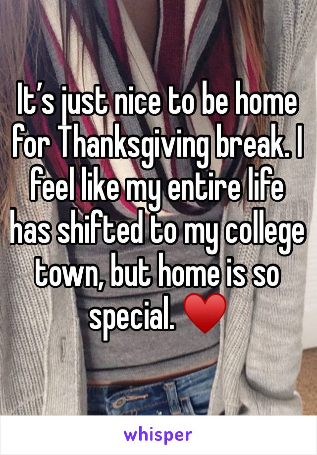 It's just nice to be home for Thanksgiving break. I feel like my entire life has shifted to my college town, but home is so special. ♥️