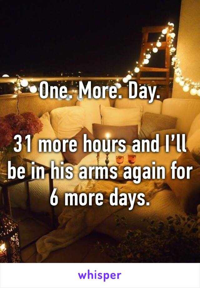 One. More. Day.  31 more hours and I'll be in his arms again for 6 more days.