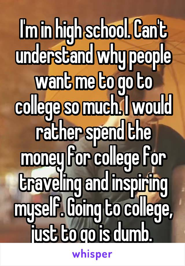 I'm in high school. Can't understand why people want me to go to college so much. I would rather spend the money for college for traveling and inspiring myself. Going to college, just to go is dumb.