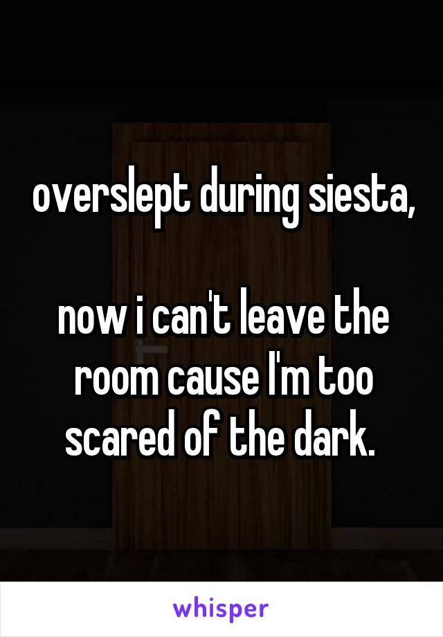 overslept during siesta,  now i can't leave the room cause I'm too scared of the dark.