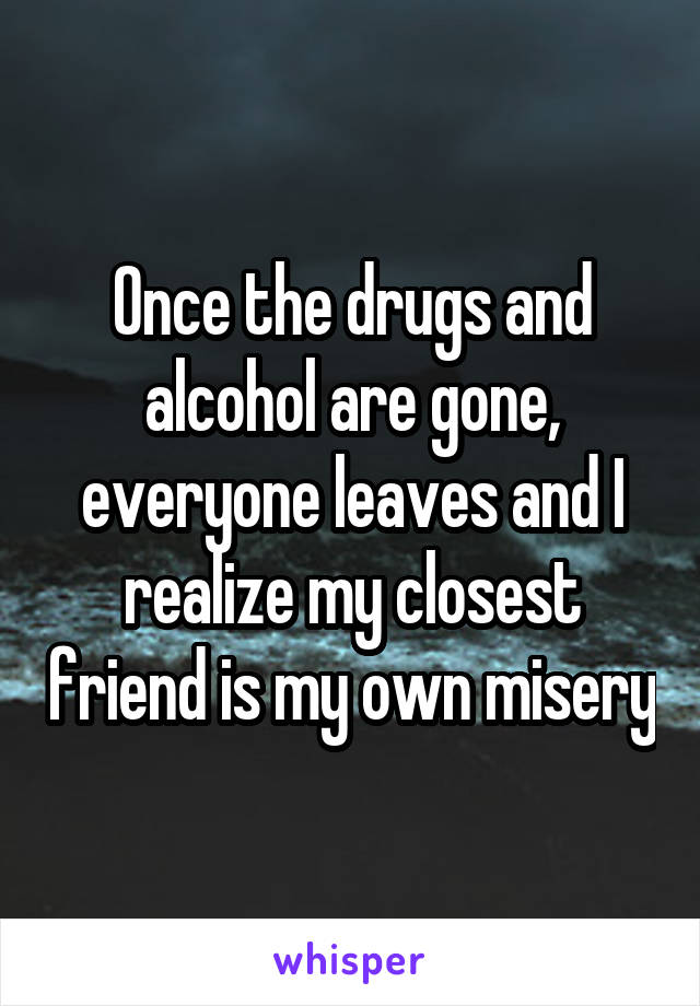 Once the drugs and alcohol are gone, everyone leaves and I realize my closest friend is my own misery