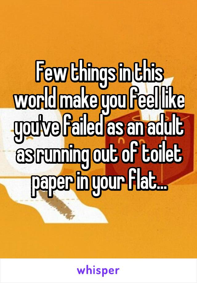 Few things in this world make you feel like you've failed as an adult as running out of toilet paper in your flat...