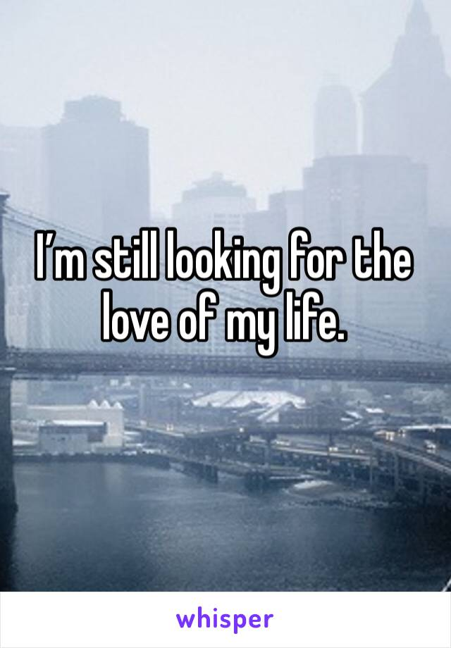 I'm still looking for the love of my life.