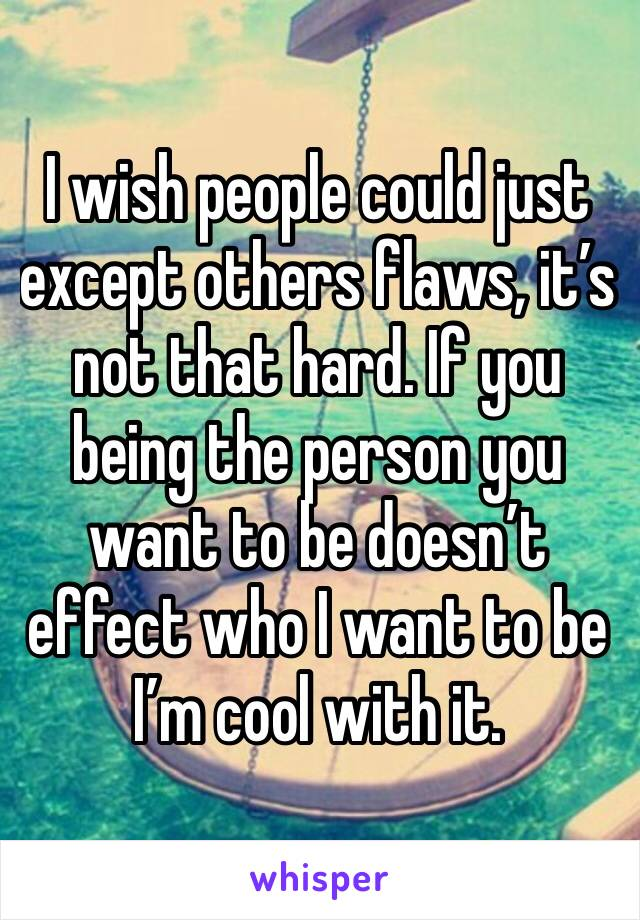 I wish people could just except others flaws, it's not that hard. If you being the person you want to be doesn't effect who I want to be I'm cool with it.