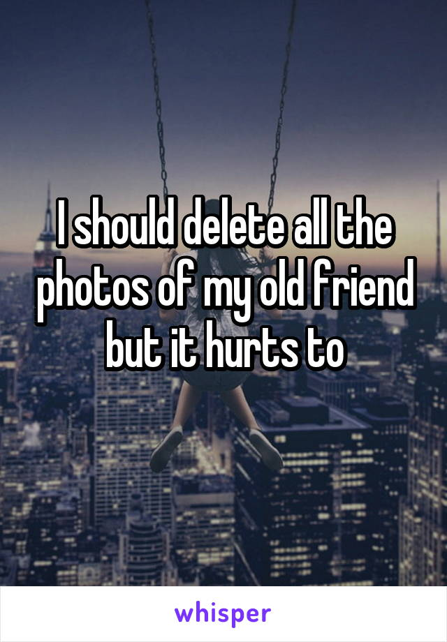 I should delete all the photos of my old friend but it hurts to