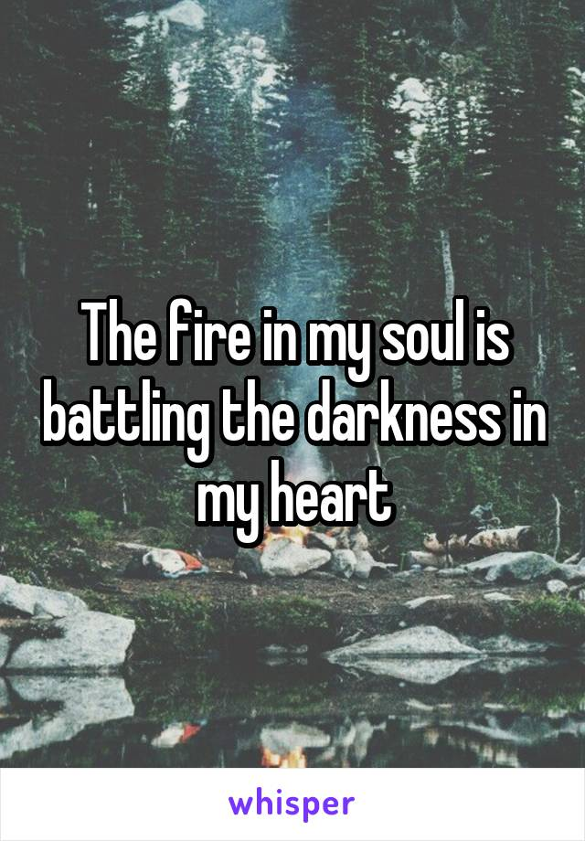 The fire in my soul is battling the darkness in my heart