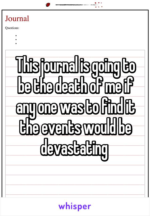 This journal is going to be the death of me if any one was to find it the events would be devastating