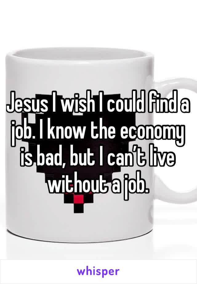 Jesus I wish I could find a job. I know the economy is bad, but I can't live without a job.