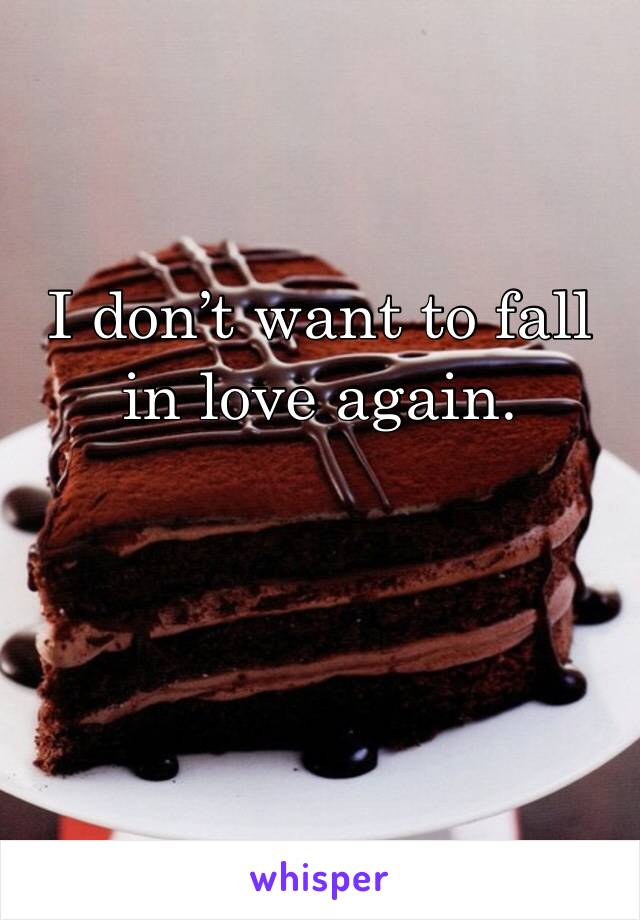 I don't want to fall in love again.