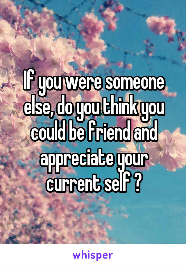 If you were someone else, do you think you could be friend and appreciate your current self ?