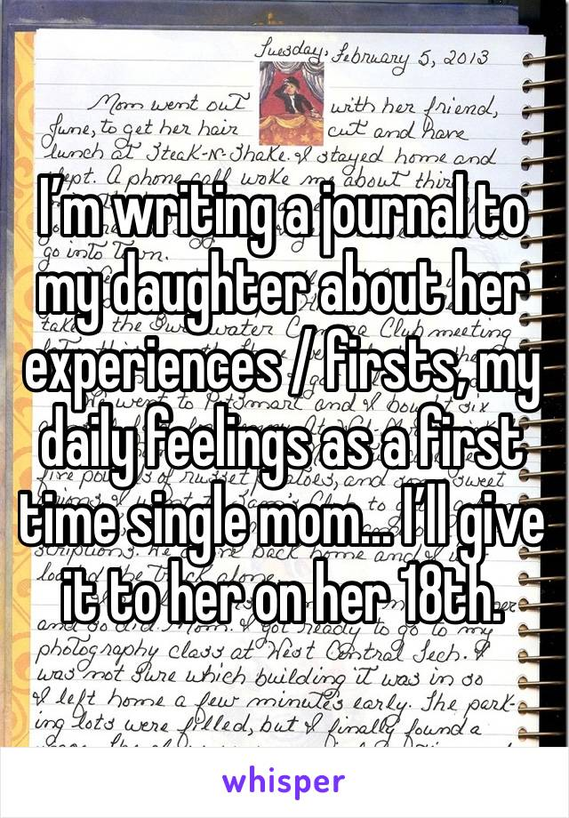 I'm writing a journal to my daughter about her experiences / firsts, my daily feelings as a first time single mom... I'll give it to her on her 18th.