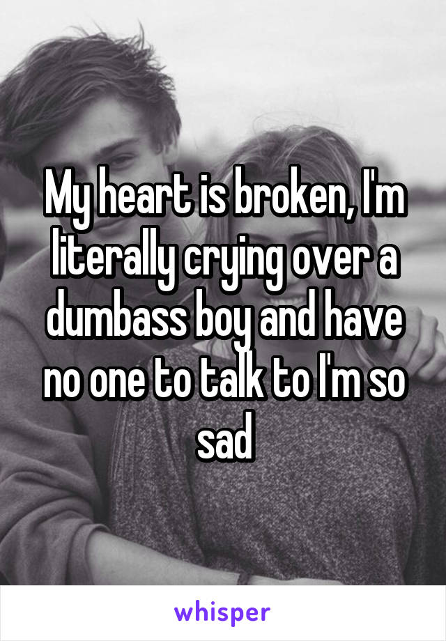 My heart is broken, I'm literally crying over a dumbass boy and have no one to talk to I'm so sad