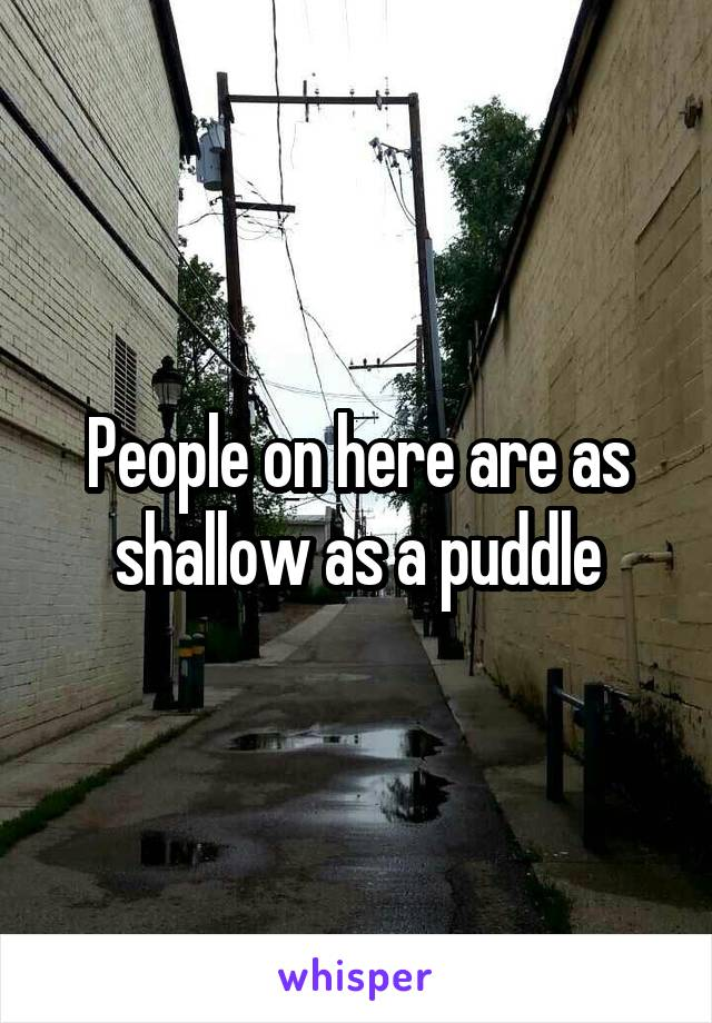 People on here are as shallow as a puddle