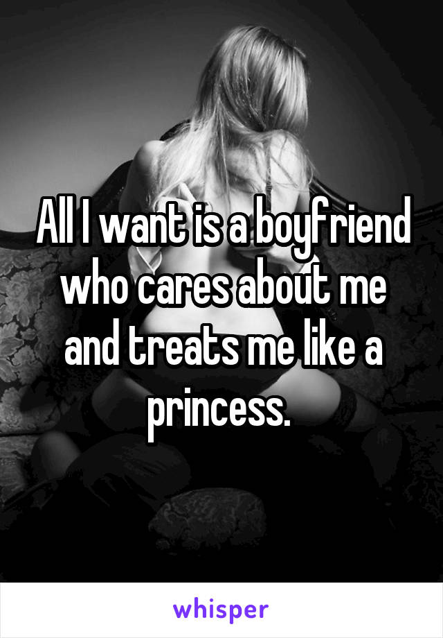 All I want is a boyfriend who cares about me and treats me like a princess.