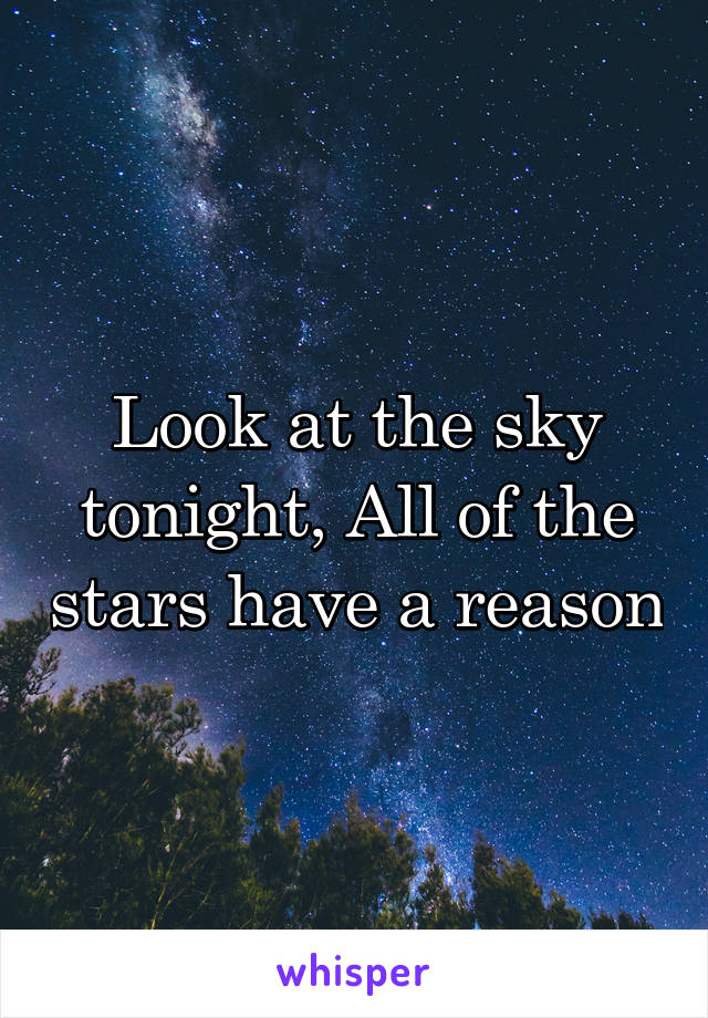 Look at the sky tonight, All of the stars have a reason