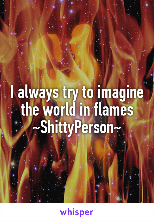 I always try to imagine the world in flames ~ShittyPerson~