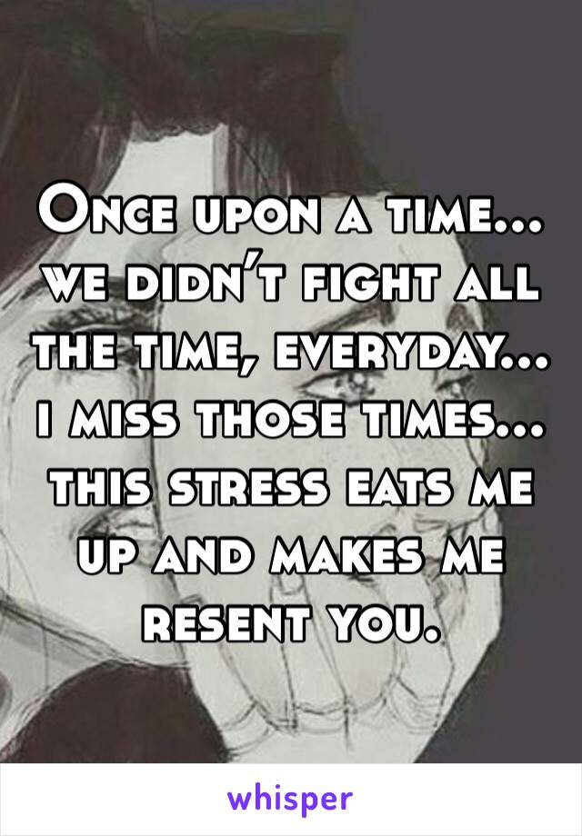 Once upon a time... we didn't fight all the time, everyday... i miss those times... this stress eats me up and makes me resent you.