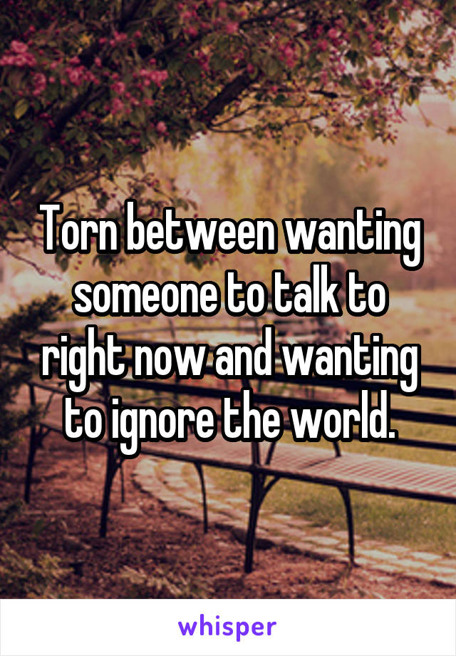 Torn between wanting someone to talk to right now and wanting to ignore the world.