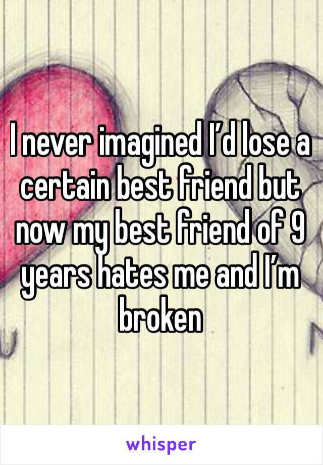 I never imagined I'd lose a certain best friend but now my best friend of 9 years hates me and I'm broken