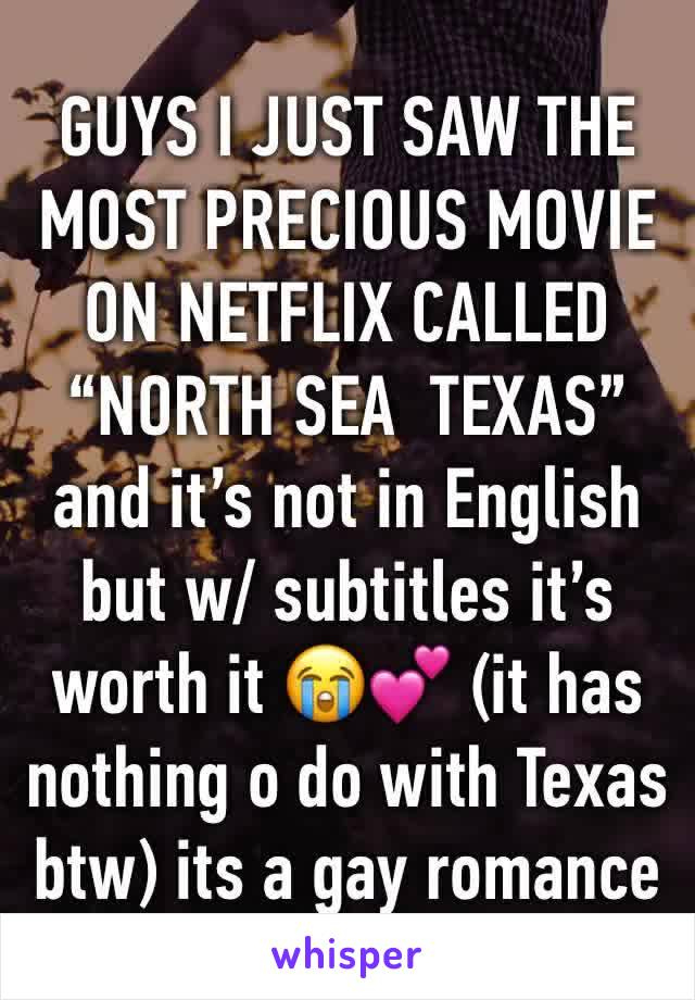 """GUYS I JUST SAW THE MOST PRECIOUS MOVIE ON NETFLIX CALLED """"NORTH SEA  TEXAS"""" and it's not in English but w/ subtitles it's worth it 😭💕 (it has nothing o do with Texas btw) its a gay romance"""
