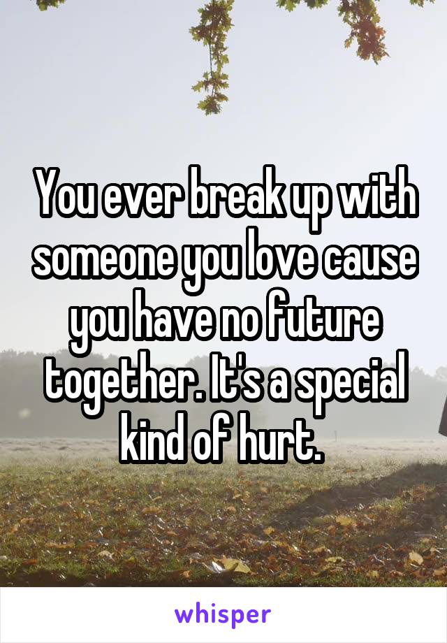 You ever break up with someone you love cause you have no future together. It's a special kind of hurt.