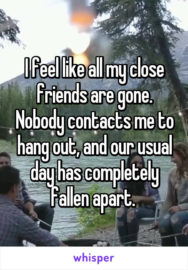 I feel like all my close friends are gone. Nobody contacts me to hang out, and our usual day has completely fallen apart.
