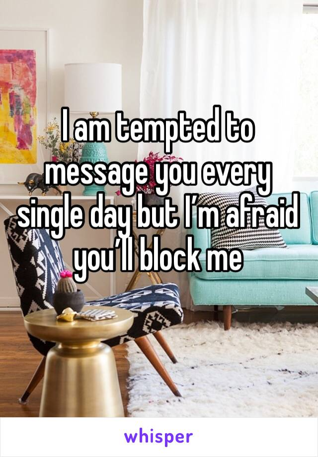 I am tempted to message you every single day but I'm afraid you'll block me