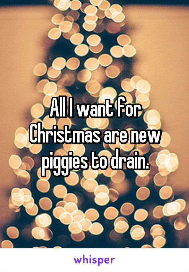 All I want for Christmas are new piggies to drain.