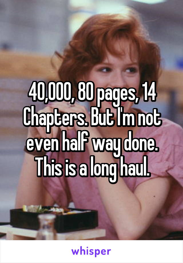 40,000, 80 pages, 14 Chapters. But I'm not even half way done. This is a long haul.