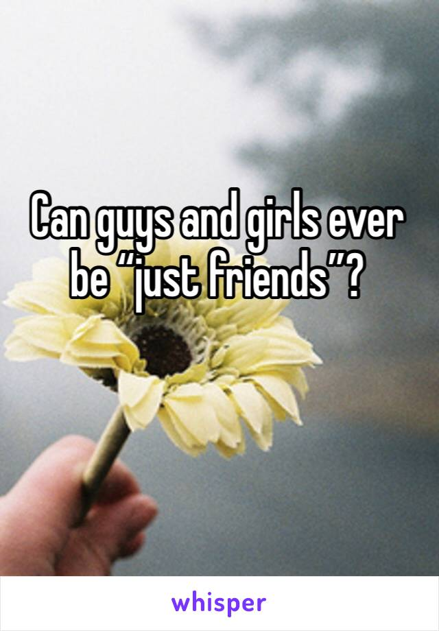 "Can guys and girls ever be ""just friends""?"