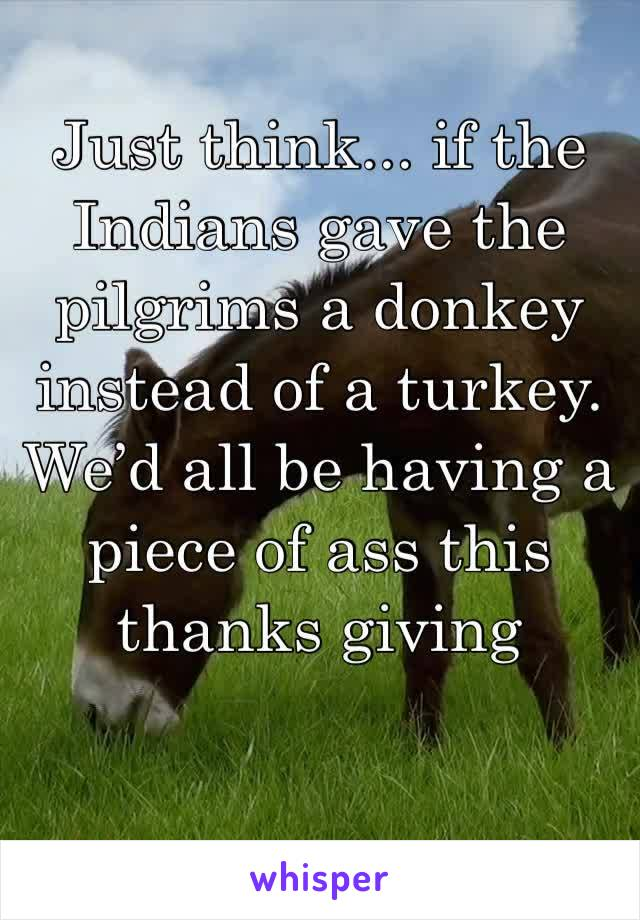 Just think... if the Indians gave the pilgrims a donkey instead of a turkey. We'd all be having a piece of ass this thanks giving