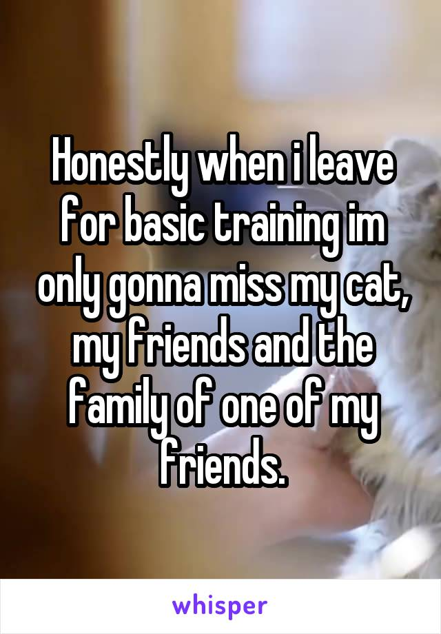 Honestly when i leave for basic training im only gonna miss my cat, my friends and the family of one of my friends.